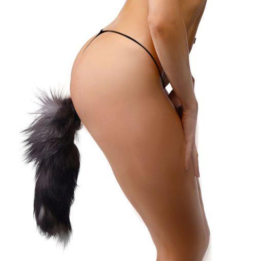 Grey Fox Tail Butt Plug